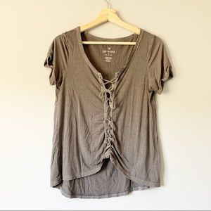 American Eagle Soft + Sexy Lace Tie Up T-Shirt